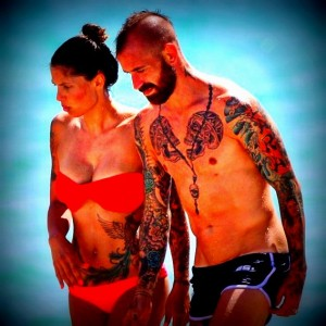Raul Meireles and wife on holiday at the beach in Miami