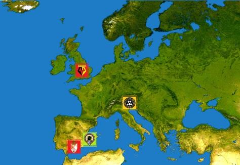 Goud: moederclub Udinese. Rood: opgekochte clubs Watford en Granada. Groen: Granada's satellietclub Hercules Alicante.