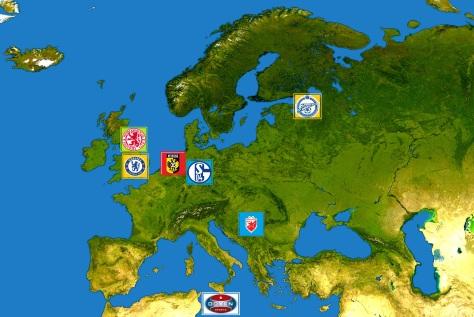 Goud: moederclubs Chelsea en Zenit Sint-Petersburg. Rood: opgekochte club Vitesse. Blauw: door Gazprom gesponsorde clubs Schalke 04 en Rode Ster Belgrado. Groen: Middlesbrough, dat samenwerkt met Chelsea. Wit: Doyen Sports.