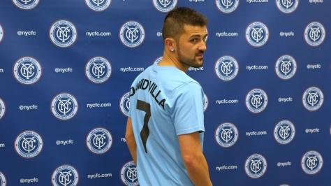 David Villa in het blauwe shirt van Manchester... Nee, New York City FC. Foto: mcfc.co.uk