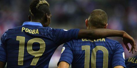 De hoop van de Fransen: Paul Pogba en Karim Benzema. Foto: metronews.fr