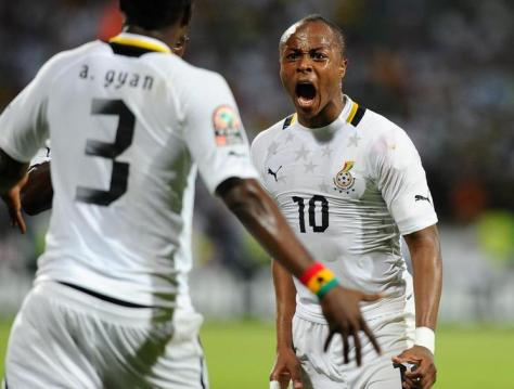 De dodelijke Ghana-aanvallers Asamoah Gyan en André Ayew. Foto: spyghana.com