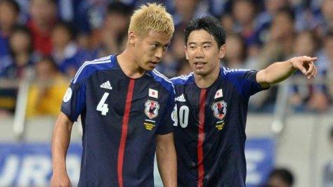 Japans nieuwe helden: Keisuke Honda en Shinji Kagawa. Foto: futloversblog.wordpress.com