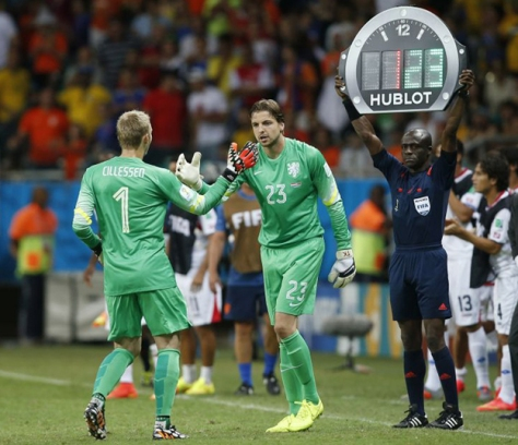 Het geduld beloond. Tim Krul vervangt Jasper Cillessen en mag op weg naar WK-glorie. Foto: newslocker.com